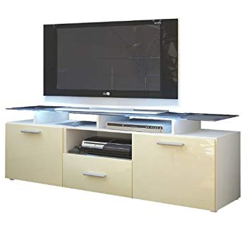 Most Recent Cream Gloss Tv Stands For Vladon Tv Stand Unit Almada, Carcass In White Matt/front In Cream (Gallery 19 of 20)