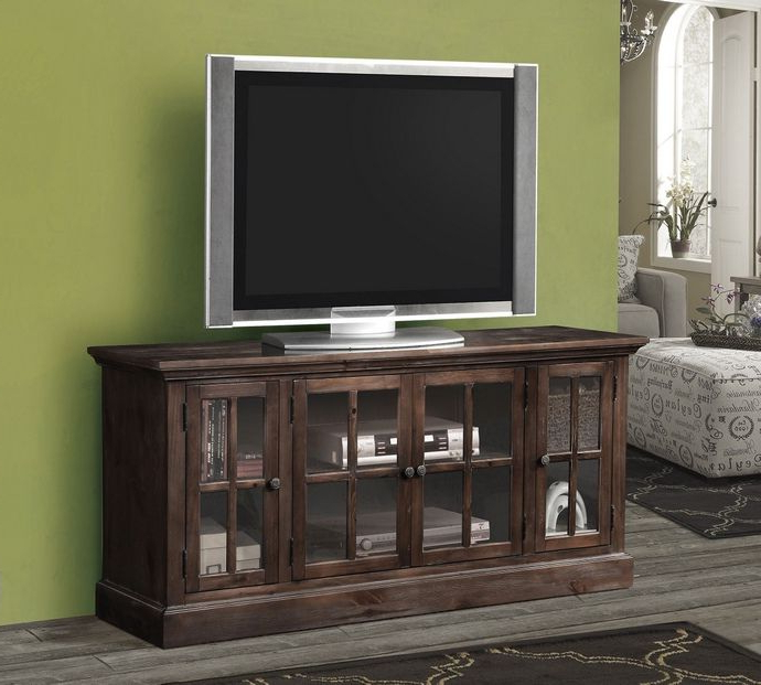 Most Recent Glass Front Tv Stands For Acme 91181 Nora Collection Dark Lager Finish Wood Tv Stand With (Gallery 16 of 20)