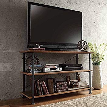 Most Recent Industrial Metal Tv Stands Throughout Amazon: Modhaus Modern Industrial Light Brown Rustic Wood And (View 9 of 20)