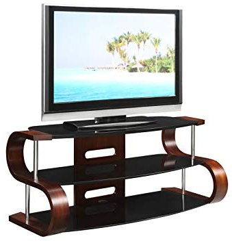 Most Recent Jual Florence Curved Walnut/black 50 Inch Tv Stand: Amazon.co.uk With Wooden Tv Stands For 50 Inch Tv (Gallery 13 of 20)