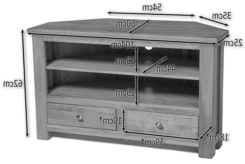 Most Recent Light Oak Tv Corner Units Intended For Waverly Oak 2 Drawer Corner Tv Stand Unit (View 17 of 20)