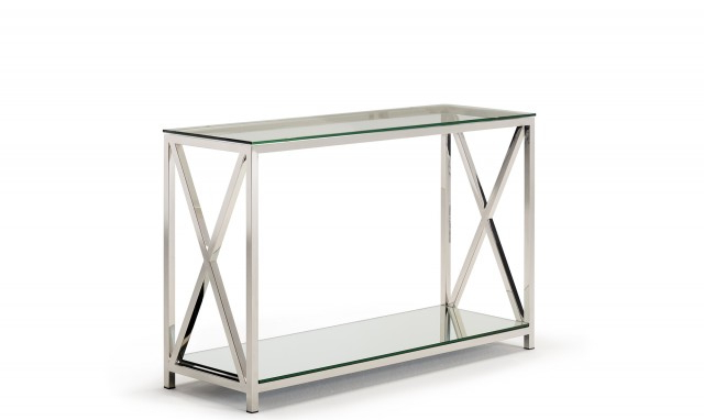 Most Recent Lucia – Console Table With Glass Top & Stainless Steel Frame Throughout Frame Console Tables (Gallery 5 of 20)