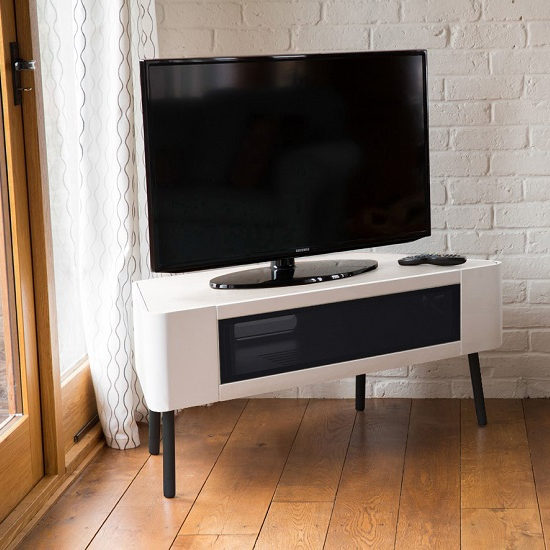 Most Recent Norvik Corner Tv Stand In White High Gloss With Glass Door With White High Gloss Corner Tv Unit (View 4 of 20)