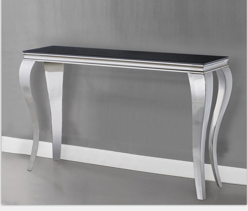 Most Recent Parsons Grey Marble Top & Dark Steel Base 48X16 Console Tables In Stainless Steel Console Table – Fibroidsgrow.club (Gallery 20 of 20)