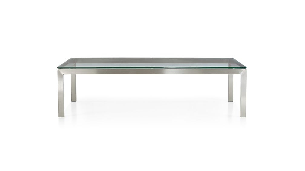 Most Recent Parsons White Marble Top & Dark Steel Base 48X16 Console Tables Inside Parsons Clear Glass Top/ Stainless Steel Base 60X36 Large (View 5 of 20)