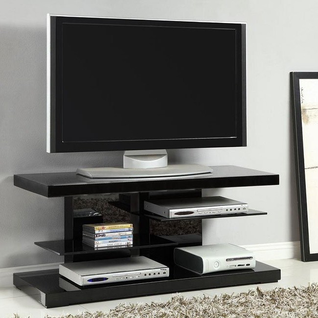 Most Recent Shiny Black Tv Stands With Regard To High Gloss Black Tv Stand W/ Glass Shelves Coaster Furniture (View 3 of 20)