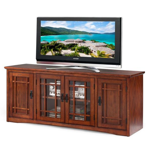 Most Recent Shop Mission Oak Hardwood 60 Inch Tv Stand – Free Shipping Today With Regard To Glass And Oak Tv Stands (View 12 of 20)