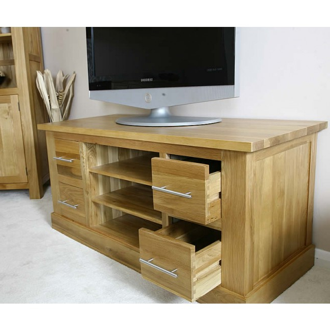 Most Recent Solid Oak Tv Stands With Delamere Light Oak Plasma Tv Stand (View 10 of 20)