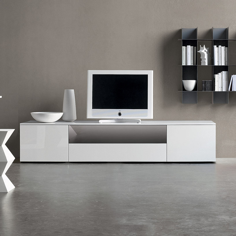 Most Recent Space White High Gloss Tv Unit With Glass Tv Cabinets With Doors (View 5 of 20)