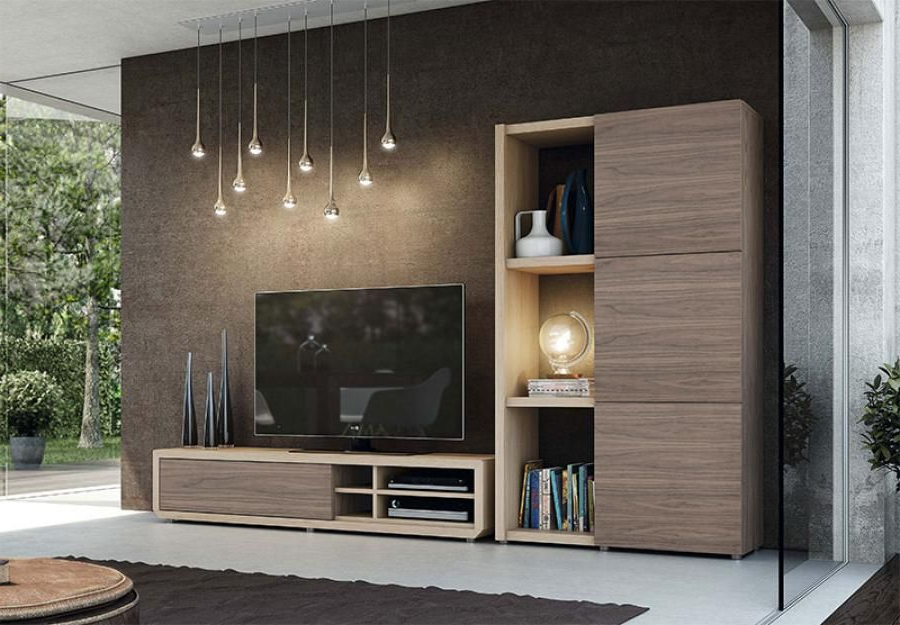 Most Recent Stylish Tv Cabinets Pertaining To Modern Natural Wall Storage System With Tv Unit And Tall Cabinet In (View 3 of 20)