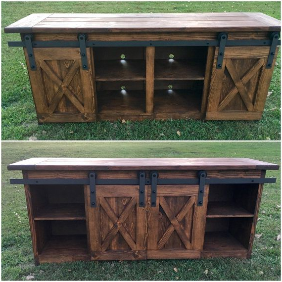 Most Recent Tv Console/tv Stand/entertainment Center/barn Door/custom/media Within Noah Rustic White 66 Inch Tv Stands (Gallery 6 of 17)