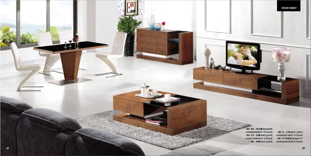 Most Recent Tv Stand Coffee Table Sets Inside Wood Furniture Living Room Furntiure Set: Coffee Table,tv Cabinet (Gallery 1 of 20)