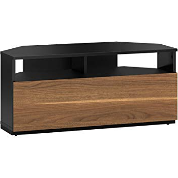Most Recent Walnut Corner Tv Stands With Black And Walnut Corner Tv Stand Cabinet Tv Unit 100Cm For Tv's Up (View 7 of 20)