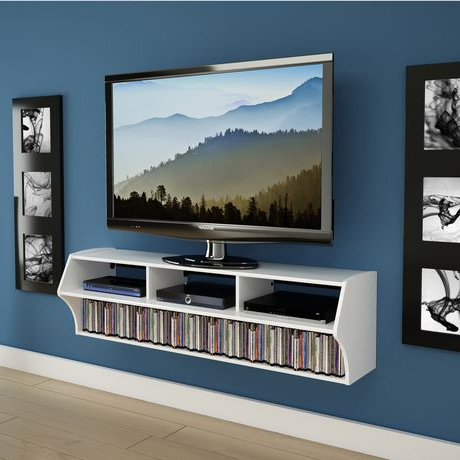 "Most Recent White Tv Stands For Flat Screens With Prepac Altus Plus 58"" Floating White Tv Stand (Gallery 17 of 20)"