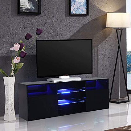 "Most Recently Released Amazon: Mecor High Gloss Tv Stand With Led Lights, 58"" Tv With Regard To Tv Stands With Led Lights (Gallery 2 of 20)"