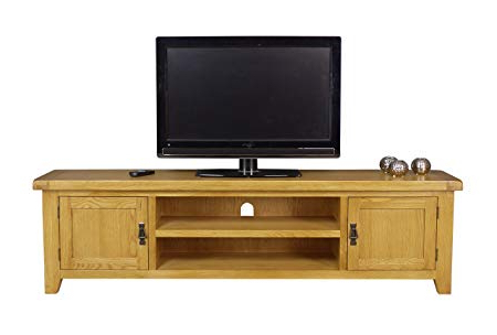 Most Recently Released Arklow Oak Extra Large Tv Stand/oak Tv Cabinet/living Room Storage Inside Wooden Tv Stands With Doors (View 10 of 20)