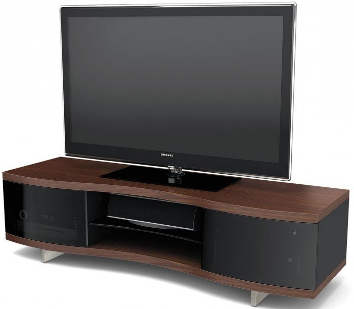 Most Recently Released Bdi Ola 8137 Chocolate Walnut Curved Tv Cabinet Pertaining To Tv Cabinets (View 11 of 20)
