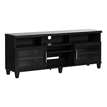 Most Recently Released Black Tv Stand With Glass Doors Within Amazon: South Shore Large Tv Stand With Glass Doors For Tvs Up (Gallery 15 of 20)