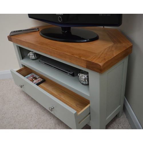 Most Recently Released Camborne Sea Green Oak Corner Tv Stand / Entertainment Unit In Green Tv Stands (View 15 of 20)