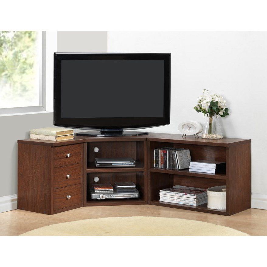 Most Recently Released Corner Tv Stand Wood Flat Screen Entertainment Center Media Console With Wooden Tv Stands For Flat Screens (View 7 of 20)