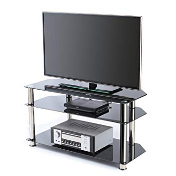 Most Recently Released Corner Tv Stands For 46 Inch Flat Screen Intended For Amazon: Rfiver Tempered Glass Corner Tv Stand In Black Suit For (View 11 of 20)