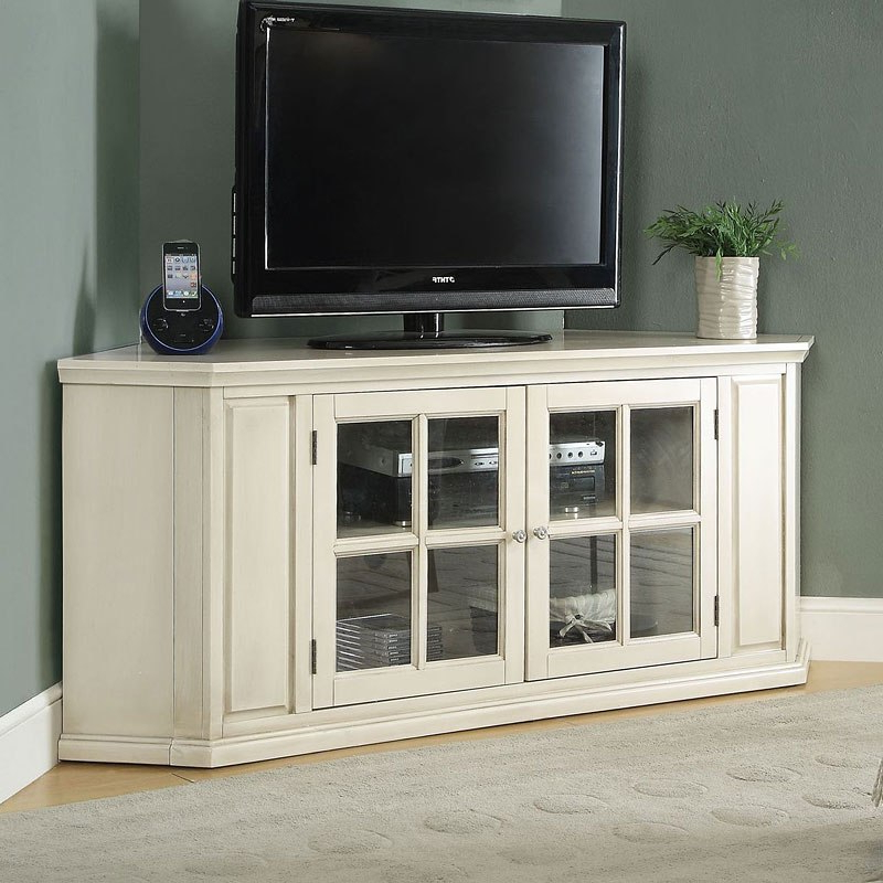 Most Recently Released Corner Tv Stands Pertaining To Malka Corner Tv Stand (Antique White)Acme Furniture (View 14 of 20)