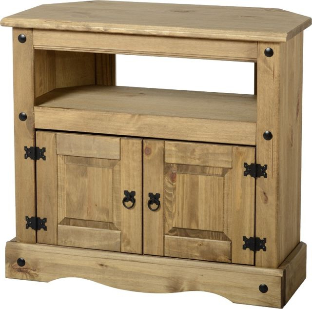 Most Recently Released Corona Corner Tv Stand 2 Door Pine Television Unit Mexican Solid Throughout Pine Wood Tv Stands (View 3 of 20)