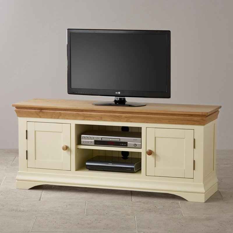 Most Recently Released Country Cottage Natural Oak And Painted Widescreen Tv Stand (View 11 of 20)