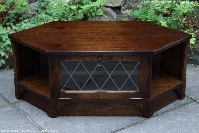 Most Recently Released Dark Wood Corner Tv Cabinets With Old Mill / Charm Oak Corner Tv Hi Fi Dvd Stand Table Cabinet (View 20 of 20)