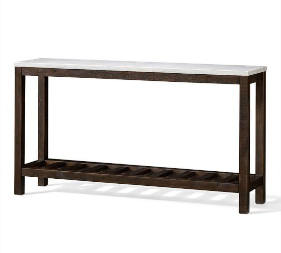 Most Recently Released Elke Marble Console Tables With Polished Aluminum Base Pertaining To Rounded Edges Rectangle White Marble Console Table (View 12 of 20)
