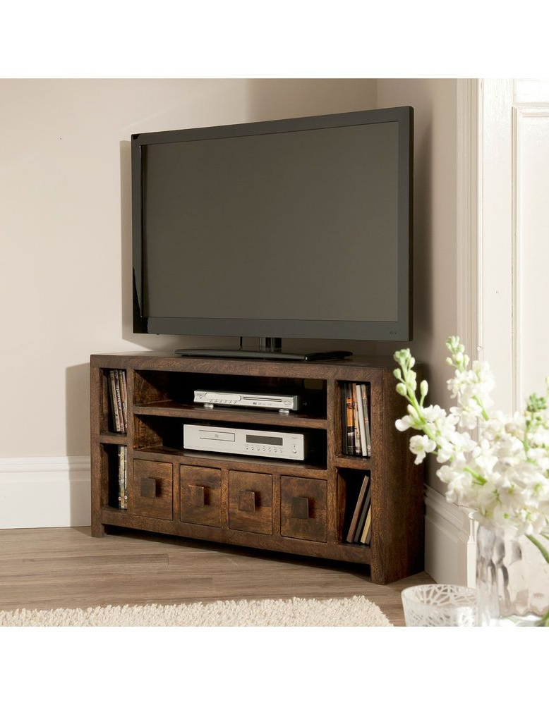 Most Recently Released Flat Tv Corner Stand Dakota Mango Large Corner Tv Cabinet (Gallery 10 of 20)