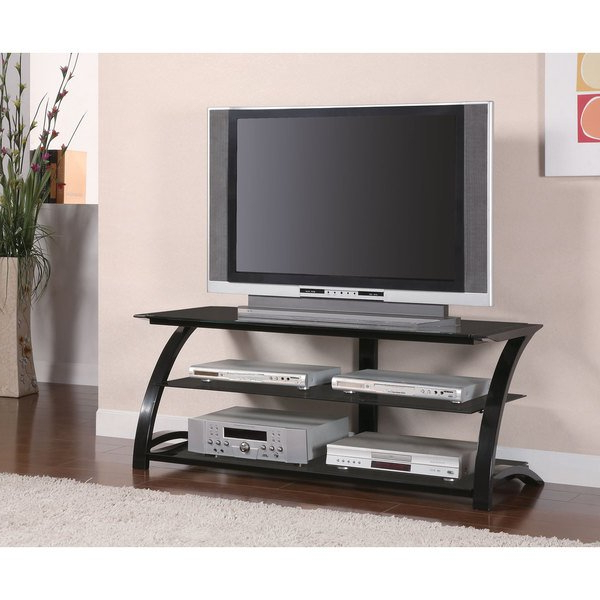 Most Recently Released Glass Tv Stands Regarding Shop Coaster Company Black Metal Tempered Glass Tv Stand – Free (Gallery 11 of 20)