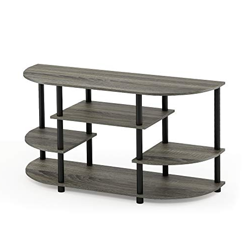 Most Recently Released Grey Corner Tv Stands Within Amazon: Furinno 15116Gyw/bk Jaya Simple Design Corner Tv Stand (View 11 of 20)