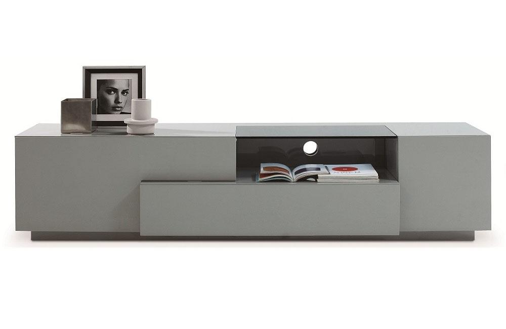 Most Recently Released Grey Finish Contemporary Functional Entertainment Tv Stand Chula In Low Tv Stands And Cabinets (View 13 of 20)