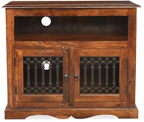 Most Recently Released Heritage Furniture Indian Jali Dark Sheesham Straight Tv Cabinet Regarding Jali Tv Cabinets (View 18 of 20)