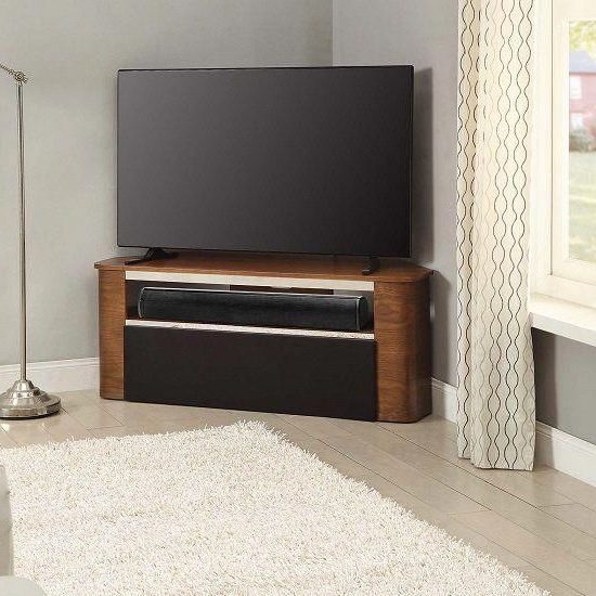 Most Recently Released Marin Wooden Corner Acoustic Tv Stand In Walnut #tvwallmountshelf Inside Walnut Corner Tv Stands (View 8 of 20)