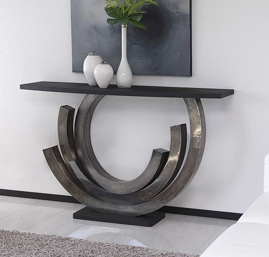 Most Recently Released Mix Patina Metal Frame Console Tables Intended For Antique Silver Patina Designer Console Table (View 12 of 20)
