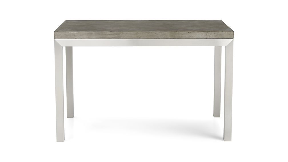 Most Recently Released Parsons Concrete Top/ Stainless Steel Base 60x36 Dining Table For Parsons Grey Marble Top & Elm Base 48x16 Console Tables (View 4 of 20)