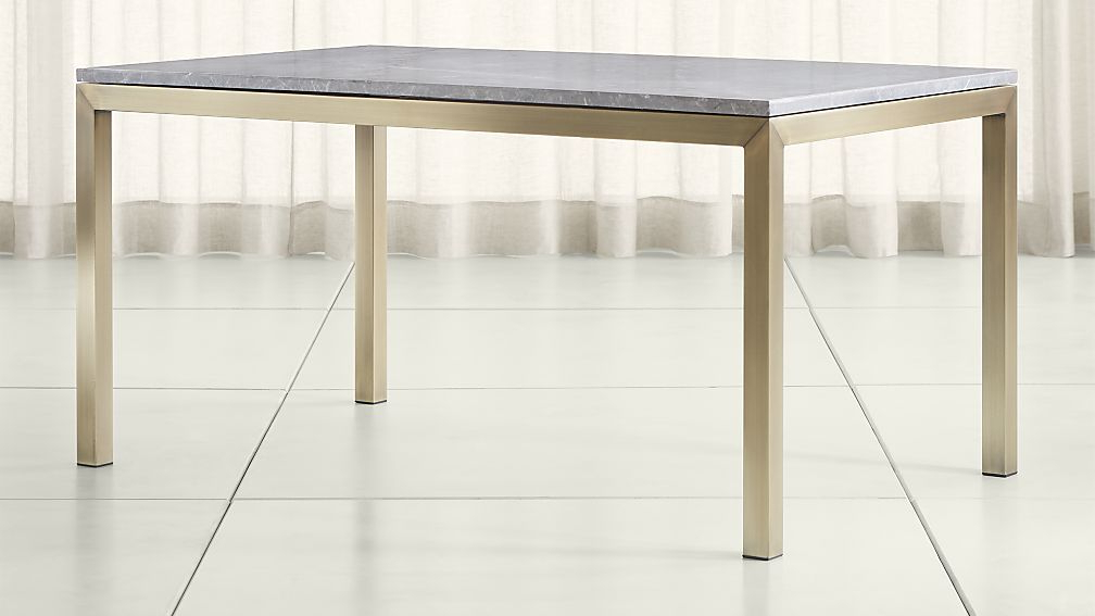 Most Recently Released Parsons Grey Marble Top/ Brass Base Dining Tables (Gallery 4 of 20)