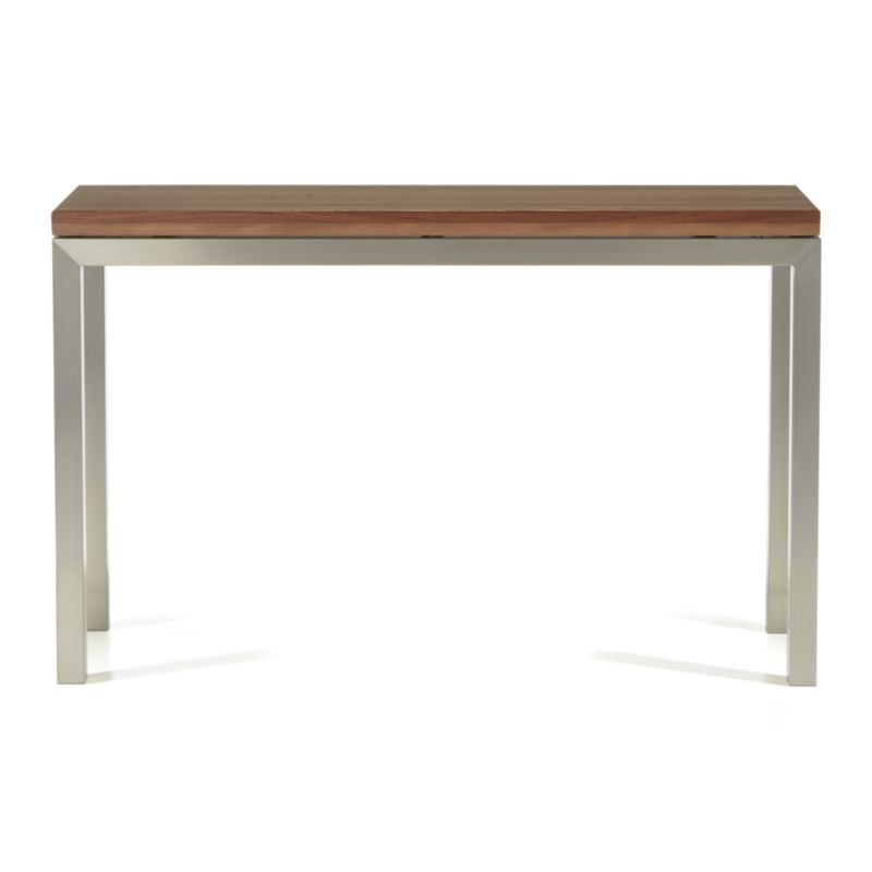Most Recently Released Parsons Reclaimed Wood Top/ Stainless Steel Base 48X16 Console Inside Parsons Grey Solid Surface Top & Stainless Steel Base 48X16 Console Tables (View 9 of 20)