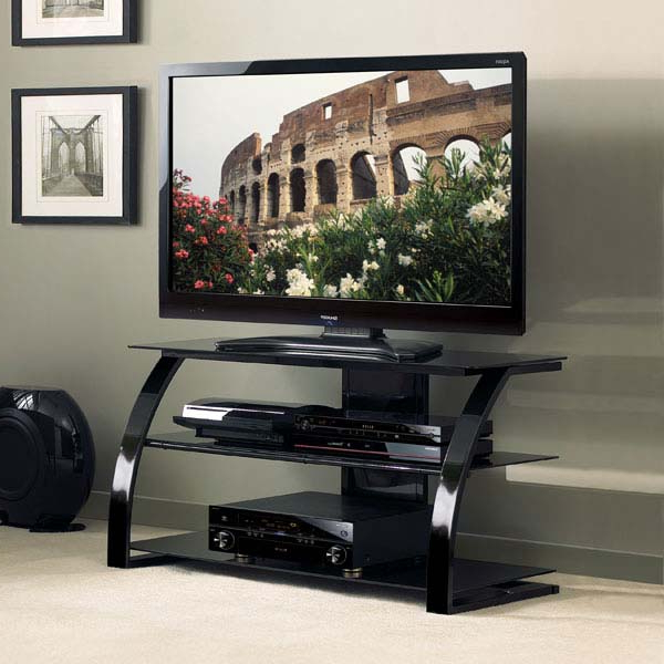 Most Recently Released Shiny Black Tv Stands Intended For Bello High Gloss Black 46 Inch Glass Flat Panel Tv Stand Pvs4204hg (View 9 of 20)