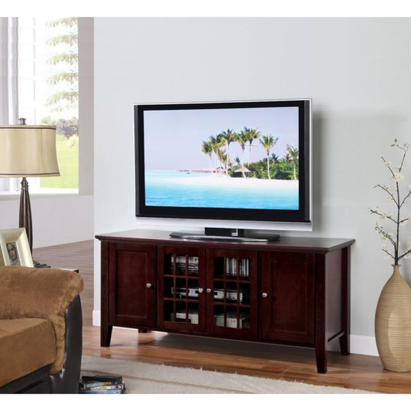 Most Recently Released Shop K&b Dark Cherry Finish Wooden Tv Stand – Free Shipping Today For Dark Tv Stands (View 12 of 20)