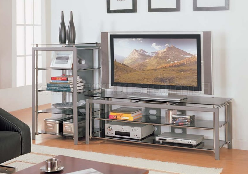 Most Recently Released Silver Tv Stands For Rectangle Shape Silver Finish Contemporary Tv Stand (View 10 of 20)