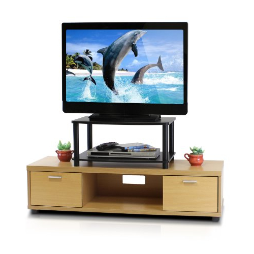 Most Recently Released Sinclair Blue 54 Inch Tv Stands With Regard To Amazon: Furinno 13191Ex/bk Turn N Tube No Tools 2 Tier Elevated (Gallery 19 of 20)