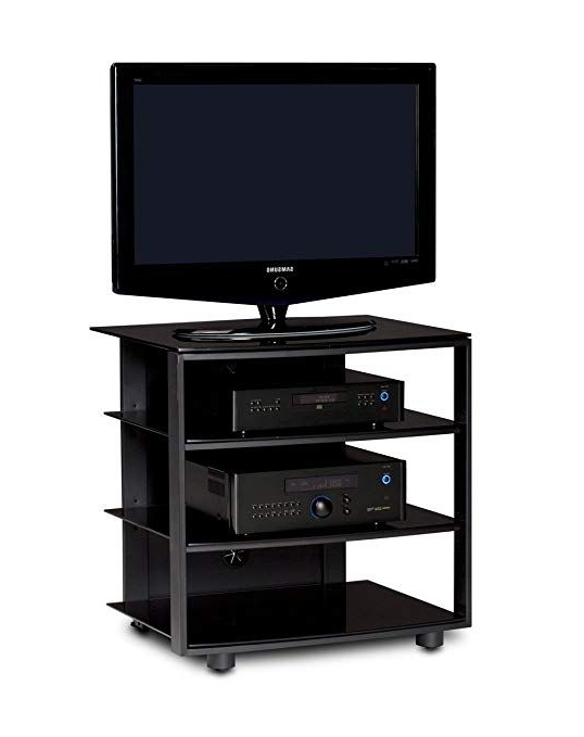Most Recently Released Single Tv Stands Throughout Bdi Vexa 9221 Single Wide 4 Shelf Tv Stand (Black With Black Shelves (View 12 of 20)