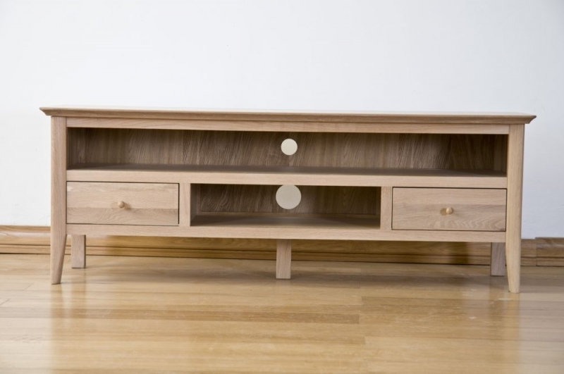 Most Recently Released Solid Oak Tv Cabinets Within Buy Sorrento Solid Oak 2 Drawer Large Tv Cabinet Online – Cfs Uk (View 12 of 20)