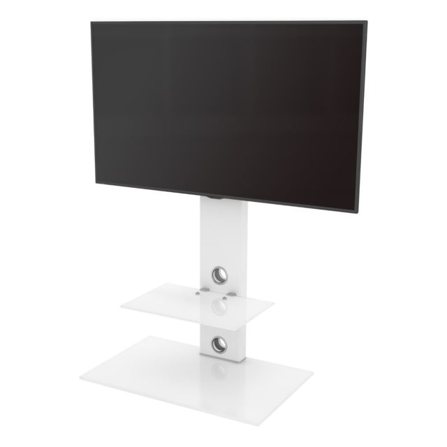 Most Recently Released White Cantilever Tv Stands Within King Upright Cantilever Tv Stand With Bracket Satin White Shelves (Gallery 17 of 20)