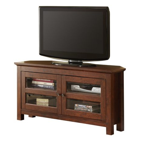 Most Recently Released Wooden Corner Tv Stands Throughout Brown Wood Corner Tv Stand (View 9 of 20)