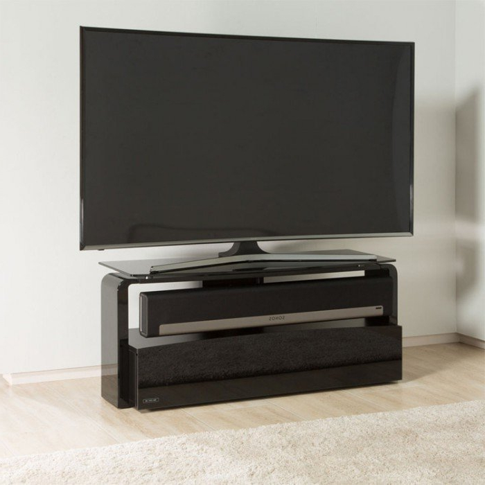 Most Up To Date Alphason Sonos Playbar Black Tv Stand (As9001) Intended For Long Black Tv Stands (View 14 of 20)