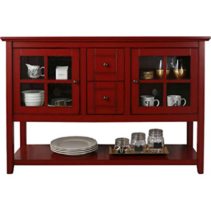 Most Up To Date Amazon: Media Console Table With Storage – Large Glass Doors Tv Within Red Tv Stands (View 11 of 20)